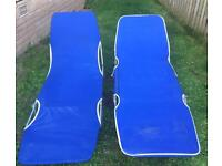 Two blue canvas deckchairs, both as a pair for £5, pick up Blackhall.