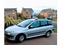 PEUGEOT 206 SW XT ESTATE, MOT TO SEPT 18, VERY CLEAN, DRIVES WELL, LOW MILEAGE FOR IT'S AGE.