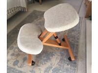 Wooden ergonomic kneeling posture chair