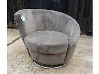 Brand New Swivel Fabric Chair - Charcoal.