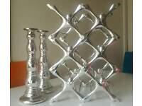various kitchen items: winerack, breadbin, capsules holder, candle holder, utensil & lid rack