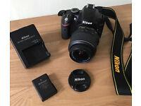 Nikon D3200 Camera Original Lens, Battery Pack, Charger, Lens Cap, Neck Strap, boxed, mint condition