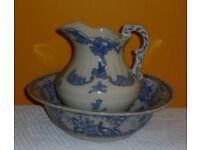 Victorian style wash basin and jug
