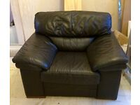 Lovely dark brown leather 3 +2+chair - great price!
