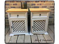 Mexican Rustic Pine Bedside Tables Hand Painted in ANNIE SLOAN French Linen Chalk Paint Upcycled