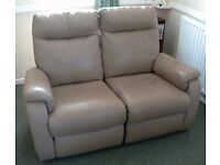 *£199* IMMACULATE TOP QUALITY REAL LEATHER ALL RECLINER SOFA SUITE 2 + 1 + 1 + POUFFE NOW ONLY £199
