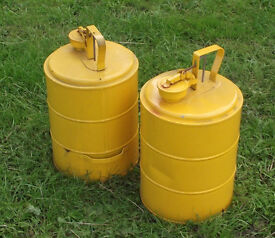 Two yellow metal containers.