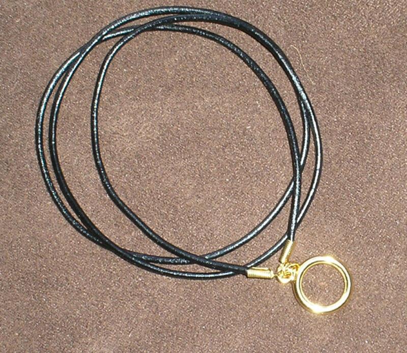 Simple Black Leather eyeglass holder cord, beautiful Gold LOOP