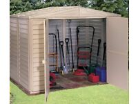 BRAND NEW FLAT PACKED 8ft x 8ft PLASTIC SHED WITH FOUNDATION KIT