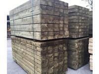 "*New* Tanalised Wooden Sleepers - 8""X 4""X 8Ft - Raised Flowerbeds/ Retaining Walls Etc 🌲"