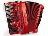 Musictech Dual Link Reedless Accordion with 300 Built in Sounds - Light Weight 5.2kg - Red Sparkle