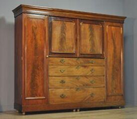 Very Large Antique Victorian Mahogany Triple Compactum Wardrobe For Restoration