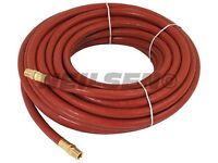 "Rubber Airline Hose - 1/4 "" x 50 Foot 15 m with Male Brass Air Fittings"