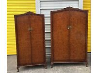 Two wardrobes - vintage/antique walnut his and hers wardrobes bedroom furniture