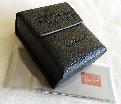 New RayBan Black Wayfarer Folding Sunglasses Case w/ cleaning (Wayfarer Sunglasses Case)