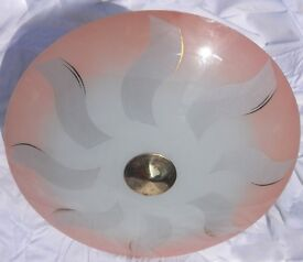 vintage 1930s 50s GLASS lampshade, chrome fittings saucer shape.