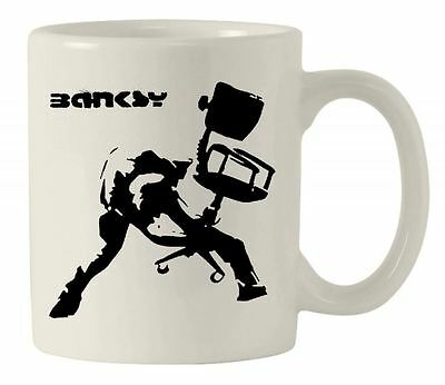 BANKSY OFFICE CHAIR MUG  - Banksy Print The Clash Banksy  Gift Present