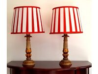 NEW PAIR Retro Red White Shiny Satin Pleated Stripe Lamp Shades Ceiling / Table Top