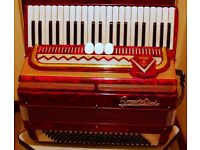 FRONTALINI 120 BASS PIANO ACCORDION IN RED ,bellows tight ,3 couplers, good,home useonly