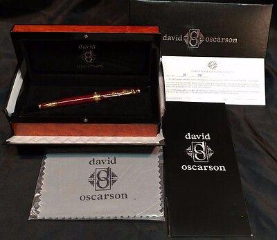 "David Oscarson ""Tree of Life"" LE 15/88 Fountain Pen 18kt Gold Trim w/ Med. Nib"