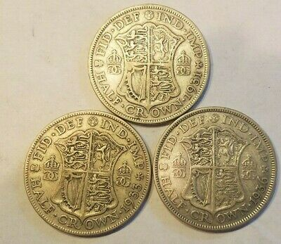 Lot of 3 British Silver 1/2 Crown Coins 1931 1933 1936 United Kingdom UK Half C