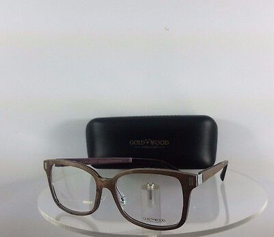 Brand New Authentic Gold and Wood Orion 07.02 Brown Frame Made in Lux