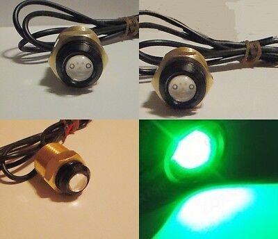 GREEN LED BOAT PLUG LIGHT GARBOARD BRASS DRAIN 1/2