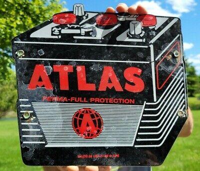 OLD VINTAGE ATLAS BATTERIES BATTERY PORCELAIN METAL GAS STATION PUMP SIGN