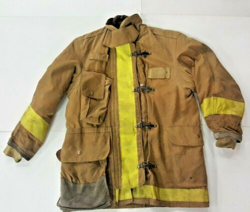 44x35 Body Guard Firefighter Brown Turnout Jacket Coat with Yellow Tape J839