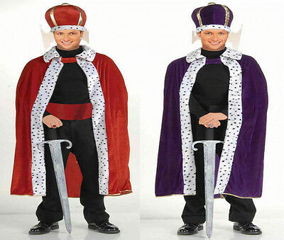 Purple King Robe (RENAISSANCE MEDIEVAL ROYAL KING ROBE ADULT RED PURPLE KING COSTUME ROBE W/ CROWN )