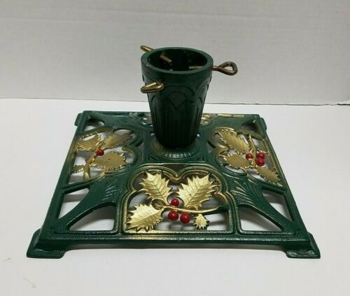 Beautiful Cast Iron Art Deco XMAS TREE STAND Holly Berries Feather Tree Orig.