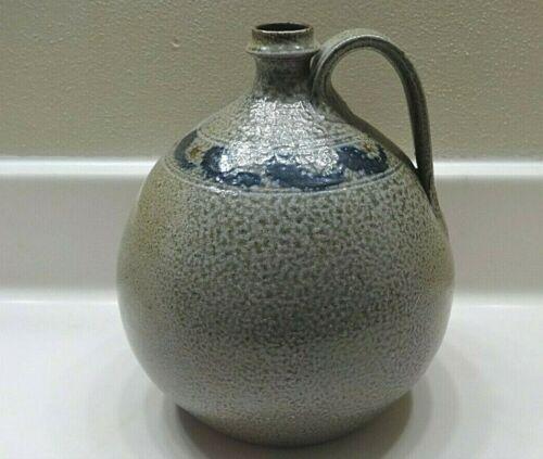 "Vintage 8-1/2"" Jugtown Ware Cobalt Decorated Salt Glazed Stoneware Jug"