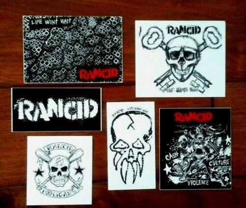 RANCID PUNK ROCK MUSIC GROUP VINYL PEEL OFF STICKERS (LOT OF 6 DIFFERENT)