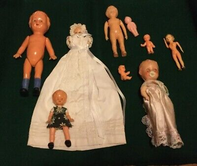9 VINTAGE CELLULOID HARD PLASTIC GIRL DOLLS 1950's - 1960's Baby toddler girls