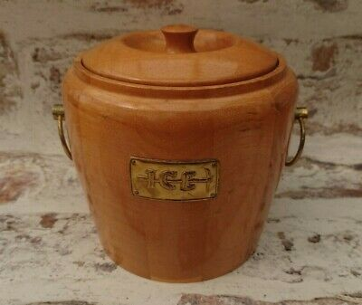 Vintage Laminated Wood Ice Bucket by Lancraft Woodware - Retro Bar furniture