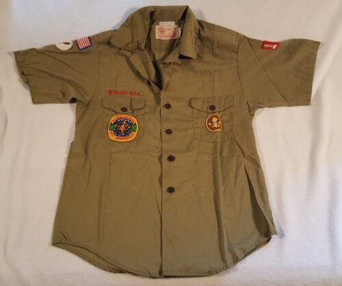 Vintage Boy Scouts Of America Short Sleeve Shirt Uniform Patches 1979 Troop 150