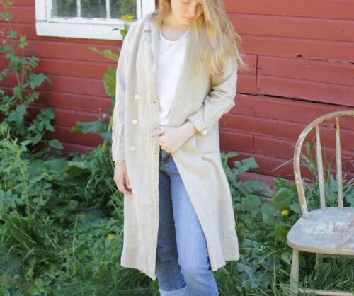 Vintage French Work wear plain linen jacket coat double breasted smock garment