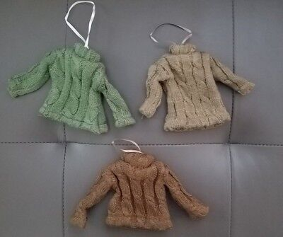 SET OF 3~CHRISTMAS ORNAMENTS~WOOL HANGING SWEATER ORNAMENTS~UGLY~RUSTIC~COUNTRY