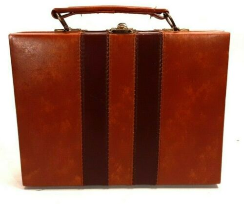 Vintage Poker Chip Carrying & Storage Case Mini Brown Leather Briefcase w/ Chips