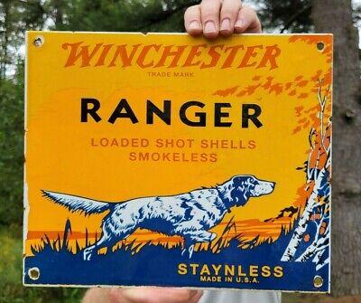 VINTAGE DATED 1953 WINCHESTER RANGER STAYNLESS PORCELAIN GUN SIGN REMINGTON COLT