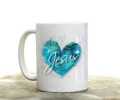 Jesus Blue Heart Coffee Mug Christian Inspirational Coffee Cup Love God Gifts