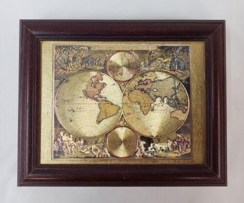 World Globe Map Wood Box Gold Picture Nova Orbis Tabula in Lucem Edita De Wit
