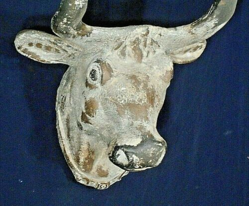 ANTIQUE 19th CENTURY COUNTRY STORE BUTCHER SHOP PLASTER BULLS HEAD TRADE SIGN