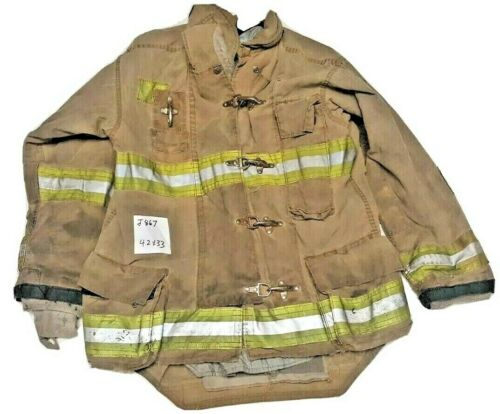 42x33 Morning Pride Firefighter Brown Turnout Jacket Coat with Yellow Tape J867