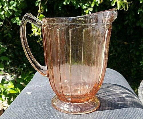 "RARE Pink Depression Glass Jeannette Sierra Pitcher 7"" Vertical Rib"