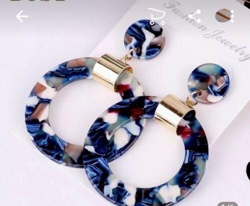 Women's Acrylic Drop Dangle Earrings round hoop blue gold st