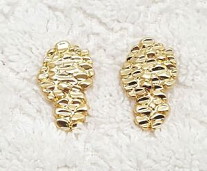 14kt gold plated nugget earrings 16mm.