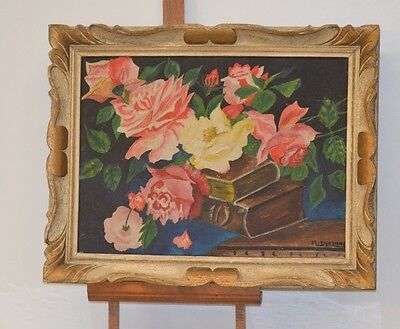 ANTIQUE PAINTING ORIGINAL PAINTING ON CANVAS SIGN STILL LIFE FLOWER BOOK
