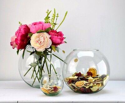 Fish Bowl (Eco Glass Round Elegant Fish Bowl Vase For Flowers | Choice of Sizes)