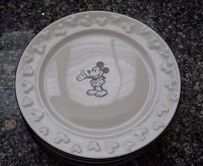 "DISNEY PARKS Mickey Mouse Sketch 8"" Dishes - Set of 6 - RARE"